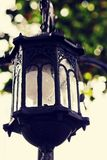 Linternas del jardín en jardín con el fondo de la luz del sol Imágenes de archivo libres de regalías