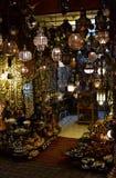 Linternas en el mercado de Marrakesh, opinión de la noche Fotografía de archivo