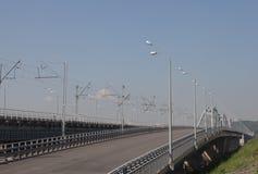 Linternas en el puente Fotografía de archivo