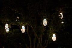 Linternas en un árbol imagen de archivo libre de regalías