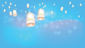 Linternas flotantes blancas a la ceremonia brillante del cielo en Tailandia del norte Imágenes de archivo libres de regalías