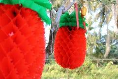 Linternas rojas de la piña Fotografía de archivo libre de regalías