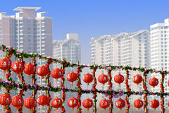 Linternas rojas en el Año Nuevo. Imagen de archivo