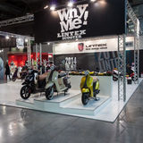 Lintex scooters at EICMA 2013 in Milan, Italy Stock Photo