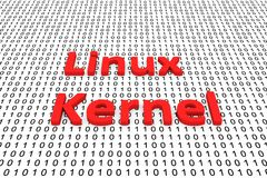 Linux Kernel. In a binary code 3D illustration Stock Photos