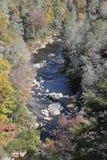 Linville的上部秋天, NC 库存图片
