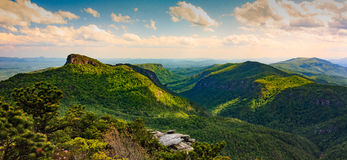 Linville Gorge NC. Dramatic sun in the Linville Gorge near Charlotte North Carolina Royalty Free Stock Photo