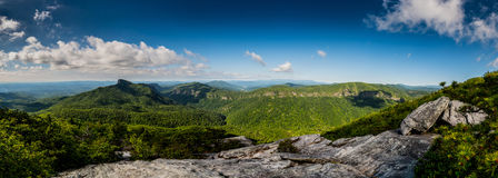 Linville Gorge Panorama. On a bright summer morning stock images