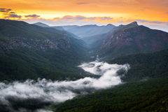 Linville Gorge River of Fog at Sunrise Stock Photos
