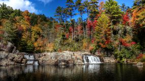 Linville Upper Falls During Fall Stock Image
