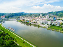 Linz aerial panoramic view. Linz city centre and Danube river aerial panoramic view in Austria. Linz is the third largest city of Austria Stock Photo