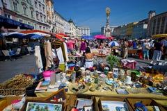 Linz, Austria, ciudad vieja, mercado de pulgas Imágenes de archivo libres de regalías