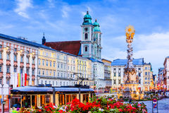 Linz, Austria. Holy Trinity column on the Main Square Hauptplatz Stock Photos