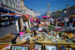 Linz, austria, old town, flea market. The old town in linz, austria. flea market on linz's main square Royalty Free Stock Images