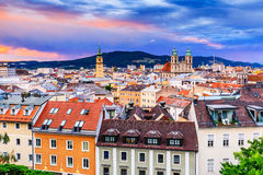 Linz, Austria. Panoramic view of the old town Royalty Free Stock Photography