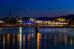 Linz cathedral and railway bridge Stock Photos