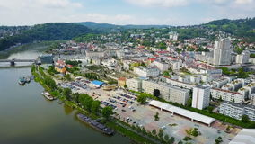 Linz centre aerial view stock video footage