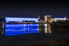 Linz and Danube by night Royalty Free Stock Photography