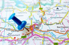 Linz on map. With push pin Royalty Free Stock Photography