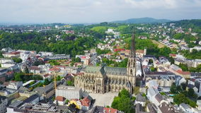 Linz New Cathedral, Austria stock video footage