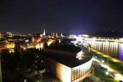 Linz by night. Photo of Linz by night Stock Photos