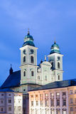 Linz,Old Cathedral with Trinity Column Royalty Free Stock Photos