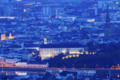 Linz panorama at night Stock Photos