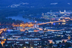 Linz panorama at night Royalty Free Stock Photos