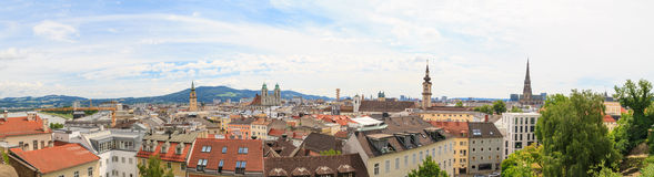 Linz, Panorama of old city, Austria. Linz, View on old city with churches, Austria Royalty Free Stock Images