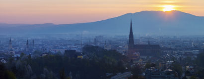 Linz panorama at sunrise Royalty Free Stock Photo