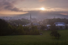 Linz panorama at sunrise Stock Photos