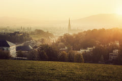 Linz panorama at sunrise Stock Images