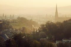 Linz panorama at sunrise Stock Image