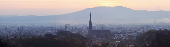 Linz panorama at sunrise Stock Photography