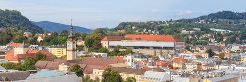Linz pejzaż miejski z Schlossmuseum, Austria Fotografia Stock