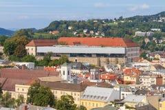 Linz pejzaż miejski z Schlossmuseum, Austria Zdjęcie Stock
