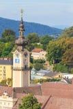 Linz pejzaż miejski z wierza Górny Austriacki parlament, Austria Obrazy Stock