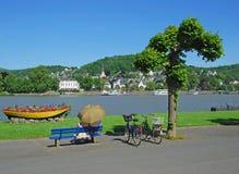 Linz am Rhein,Rhine Valley,Germany. The village of linz am rhein in the rhine valley,germany stock photos