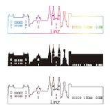 Linz skyline linear style with rainbow Stock Images