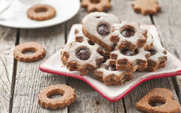 Linzer cookies royalty free stock photo