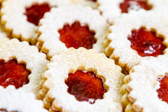 Linzer cookies. With cherry jam Royalty Free Stock Image