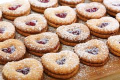 Linzer cookies with cherry jam. Royalty Free Stock Photos