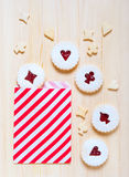Linzer cookies with cherry jam on the table Stock Image