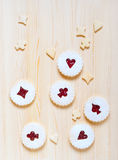 Linzer cookies with cherry jam on the  table Royalty Free Stock Photos