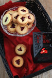 Linzer cookies for Halloween Royalty Free Stock Photography