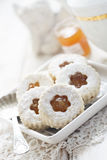 Linzer cookies with jam Stock Photo