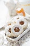 Linzer cookies with jam Stock Photo