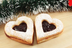 Linzer cookies with jam stock photography
