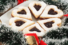 Linzer cookies with jam Royalty Free Stock Images
