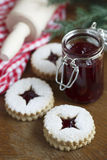 Linzer cutout cookies Stock Images